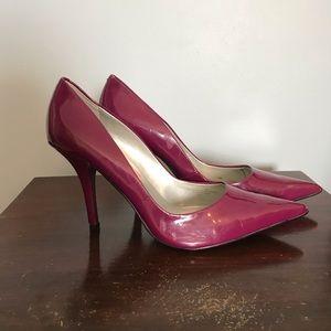 Purple Pointed Close Toe Heels